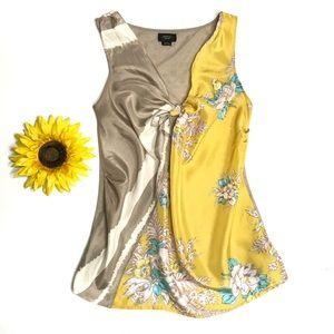Anthropologie Deletta Tie Front Silk Floral Tank